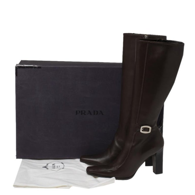 Prada Brown Leather Buckle Detail Knee Length Boots Size 41 For Sale 6