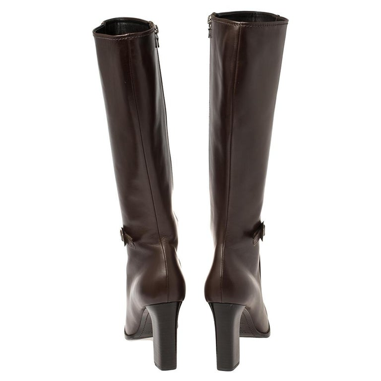 Black Prada Brown Leather Buckle Detail Knee Length Boots Size 41 For Sale