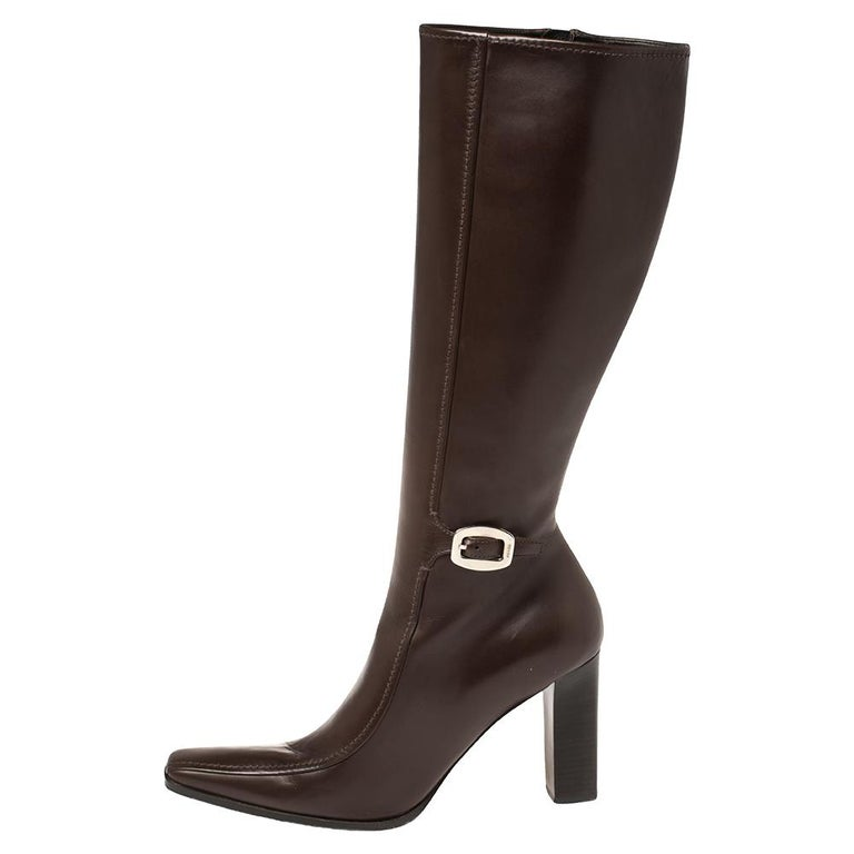 Women's Prada Brown Leather Buckle Detail Knee Length Boots Size 41 For Sale