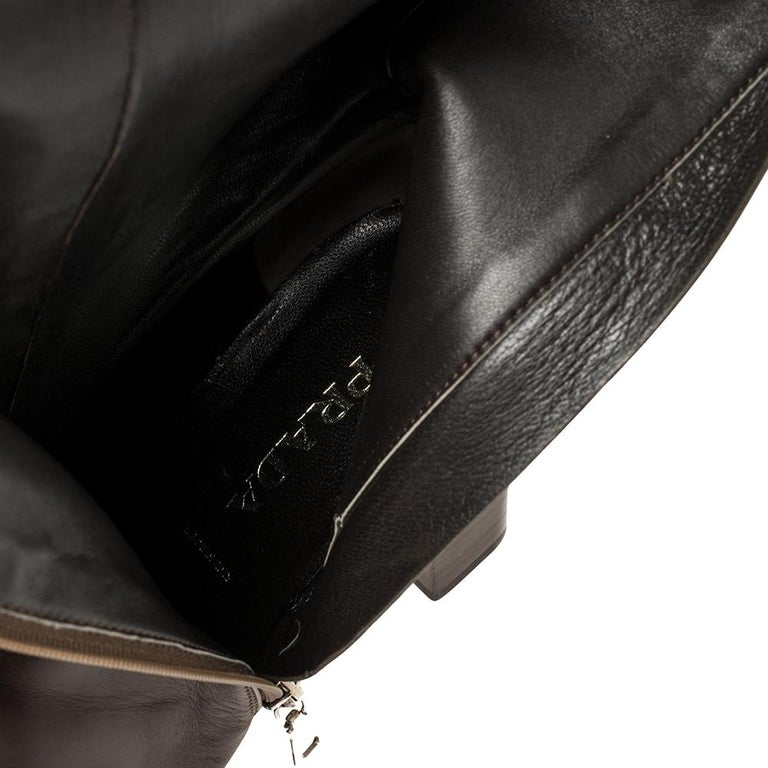 Prada Brown Leather Buckle Detail Knee Length Boots Size 41 For Sale 1