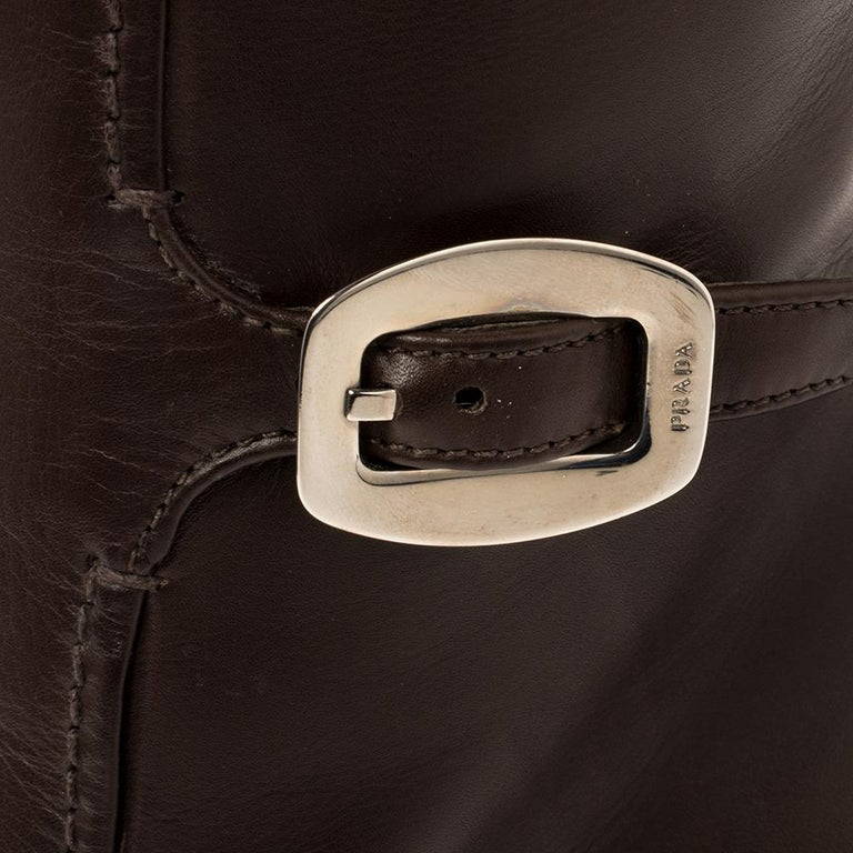 Prada Brown Leather Buckle Detail Knee Length Boots Size 41 For Sale 3