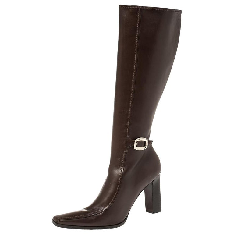 Prada Brown Leather Buckle Detail Knee Length Boots Size 41 For Sale