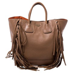 Prada Brown Leather Cervo Fringe Tote