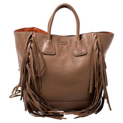 Prada Brown Leather Cervo Fringe Tote