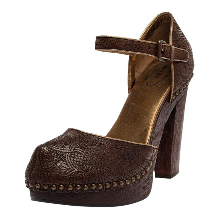 Prada Brown Leather Embroidered Wooden Block Heel Ankle Strap Sandals Size 40 For Sale