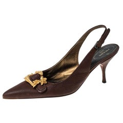 Prada Brown Leather Gold Buckle Slingback Pointed Toe Pumps Size 39