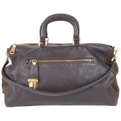 Prada Brown Leather Green Canvas Handbag