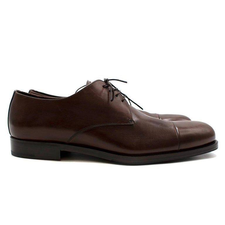 Black Prada Brown Leather Lace-up Shoes - Us size 9.5 For Sale