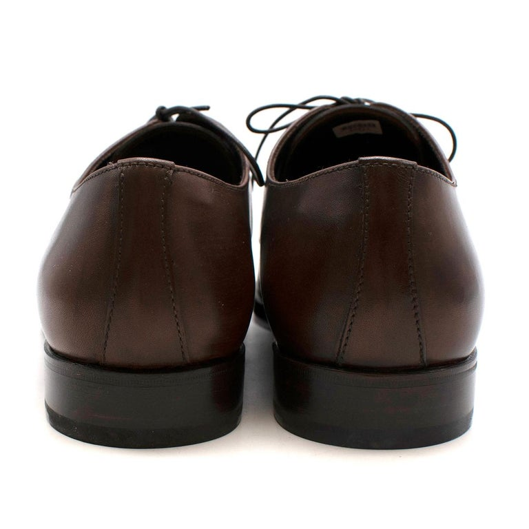 Prada Brown Leather Lace-up Shoes - Us size 9.5 In Excellent Condition For Sale In London, GB