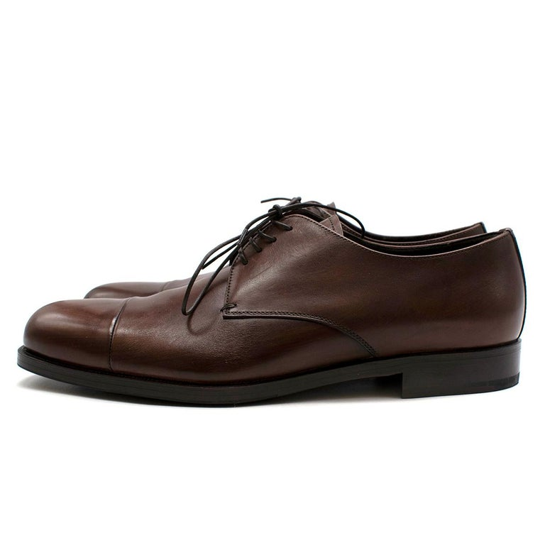 Men's Prada Brown Leather Lace-up Shoes - Us size 9.5 For Sale