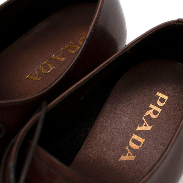 Prada Brown Leather Lace-up Shoes - Us size 9.5 For Sale 1