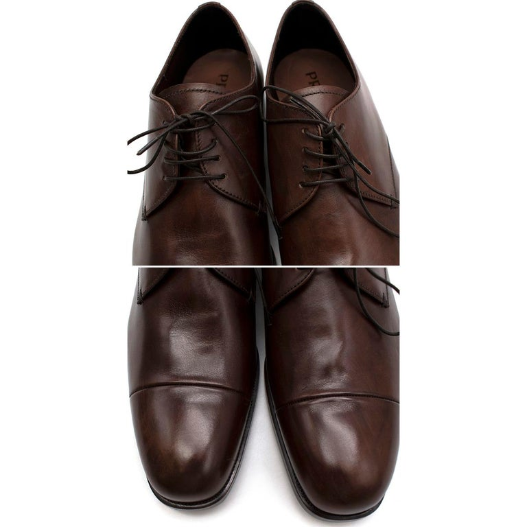 Prada Brown Leather Lace-up Shoes - Us size 9.5 For Sale 3