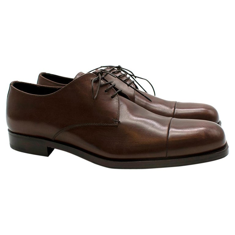 Prada Brown Leather Lace-up Shoes - Us size 9.5 For Sale