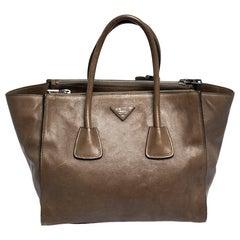Prada Brown Leather Medium Twin Pocket Double Handle Tote