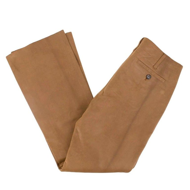 Prada Brown Leather Pants 40 In Excellent Condition For Sale In London, GB