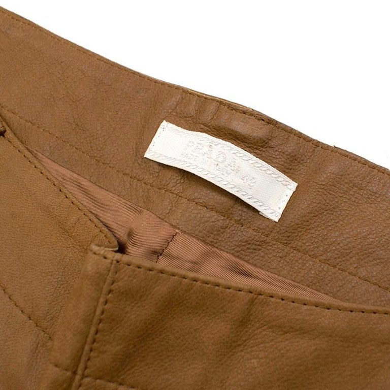 Women's Prada Brown Leather Pants 40 For Sale
