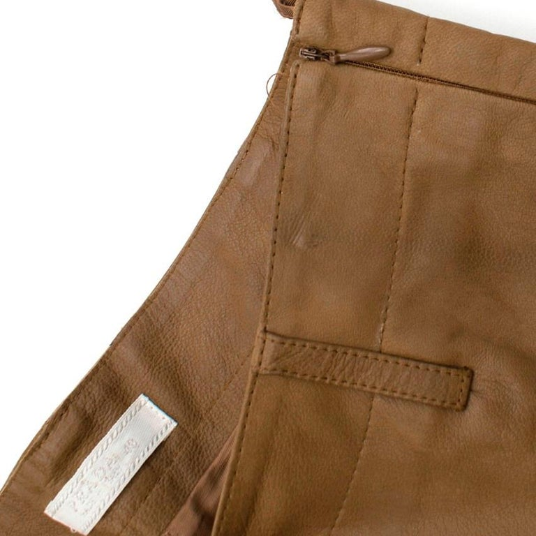 Prada Brown Leather Pants 40 For Sale 1