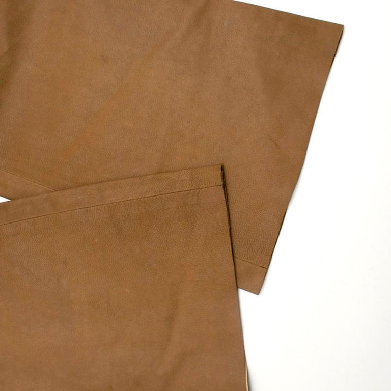 Prada Brown Leather Pants 40 For Sale 2