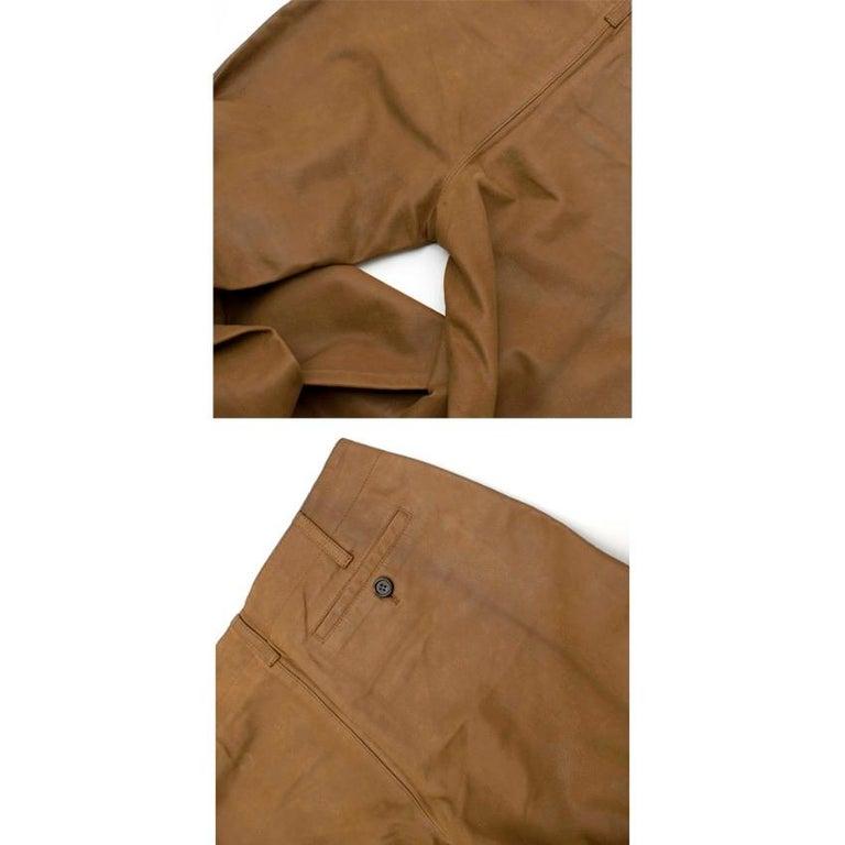 Prada Brown Leather Pants 40 For Sale 3