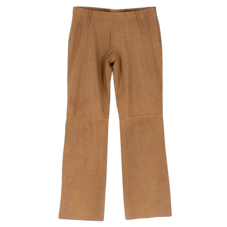 Prada Brown Leather Pants 40 For Sale