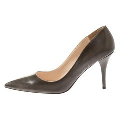 Prada Brown Leather Pointed Toe Pumps Size 39