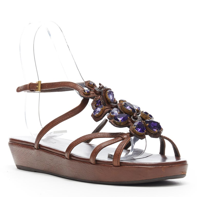 Brown PRADA brown leather purple jewel crystal embellished flower sandals EU36.5 For Sale