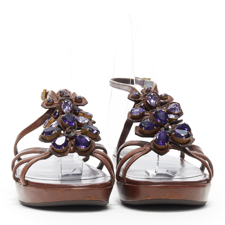 PRADA brown leather purple jewel crystal embellished flower sandals EU36.5 In Excellent Condition For Sale In Hong Kong, NT