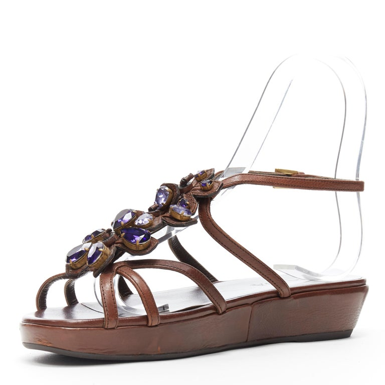 Women's PRADA brown leather purple jewel crystal embellished flower sandals EU36.5 For Sale