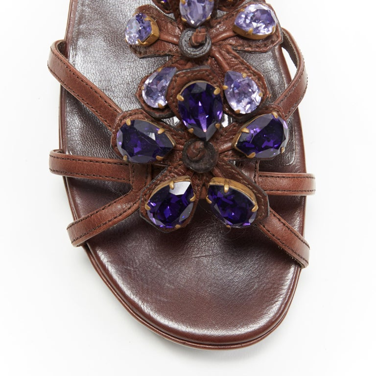 PRADA brown leather purple jewel crystal embellished flower sandals EU36.5 For Sale 3