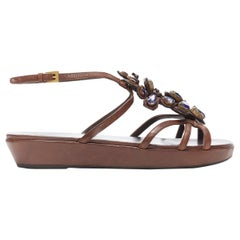 PRADA brown leather purple jewel crystal embellished flower sandals EU36.5