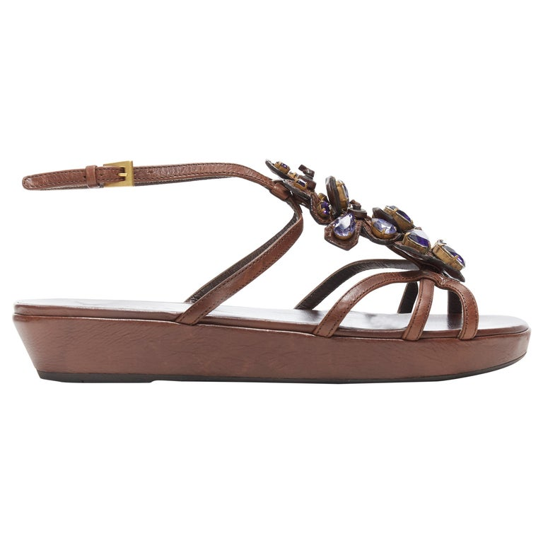 PRADA brown leather purple jewel crystal embellished flower sandals EU36.5 For Sale