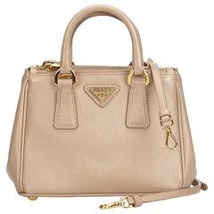 Prada Brown  Leather Saffiano Galleria Satchel Italy w/ Dust Bag