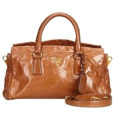 Prada Brown  Leather Satchel Italy w/ Dust Bag