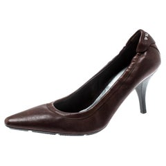 Prada Brown Leather Scrunch Pointed Toe Pumps Size 36
