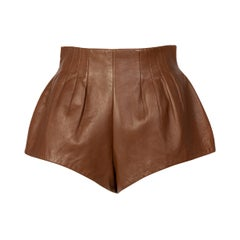 Prada Brown Leather Shorts,  2009