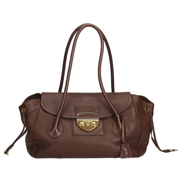 e4c635b07de1 Prada Brown Leather Shoulder Bag For Sale at 1stdibs