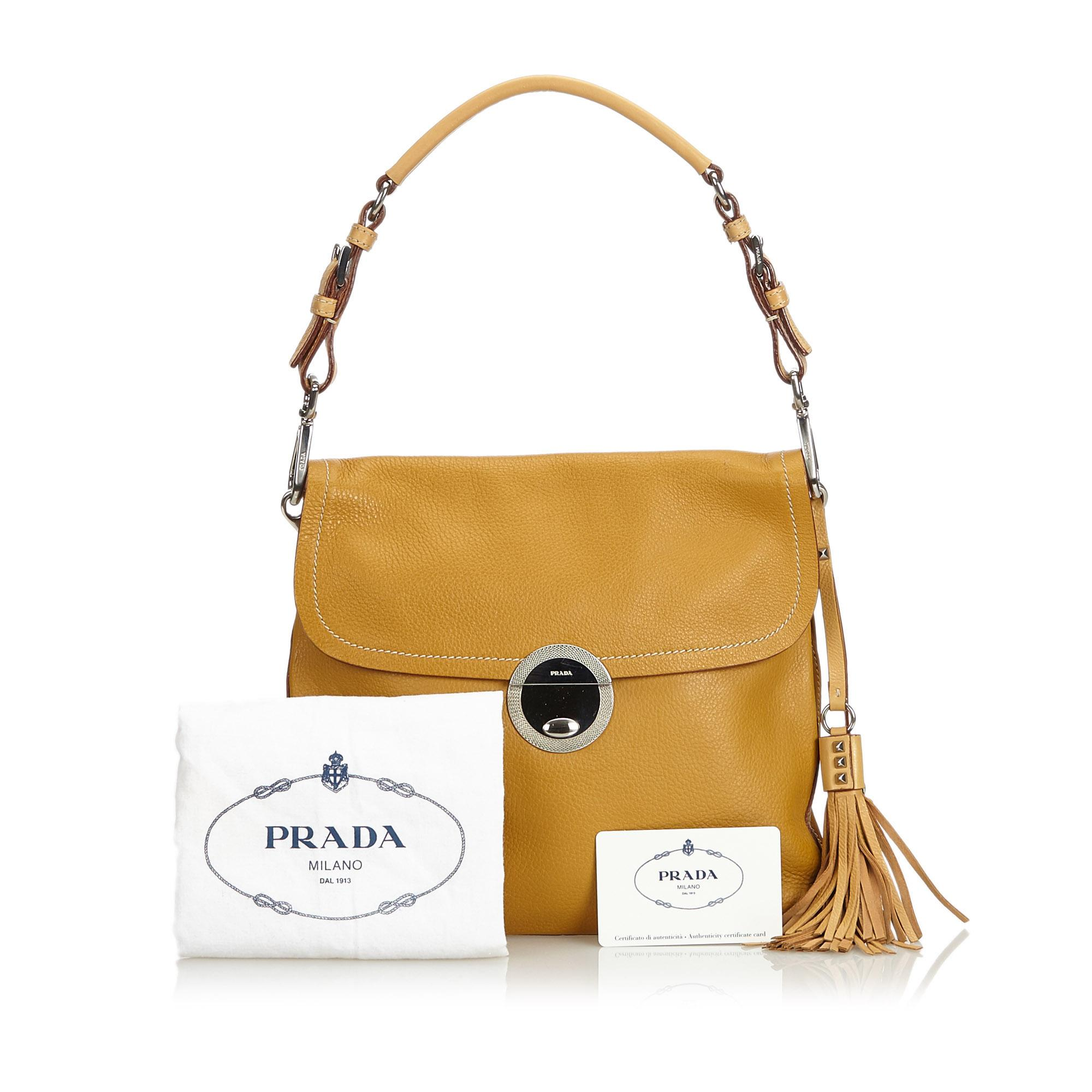 4af19e71a63b0c Prada Brown Leather Shoulder Bag Italy w/ Dust BagAuthenticity Card For  Sale at 1stdibs