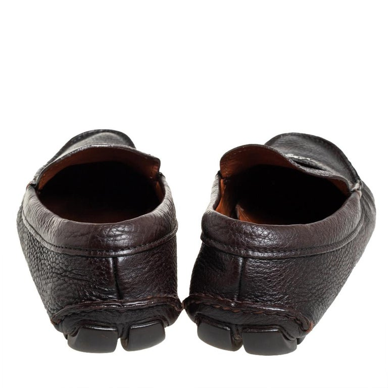 Men's Prada Brown Leather Slip On Loafers Size 41 For Sale