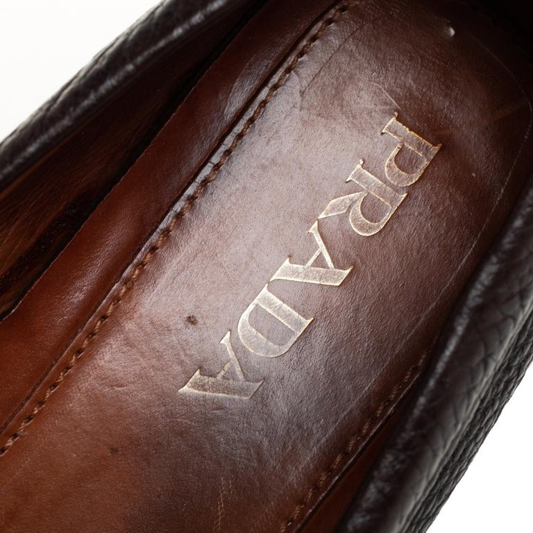 Prada Brown Leather Slip On Loafers Size 41 For Sale 1