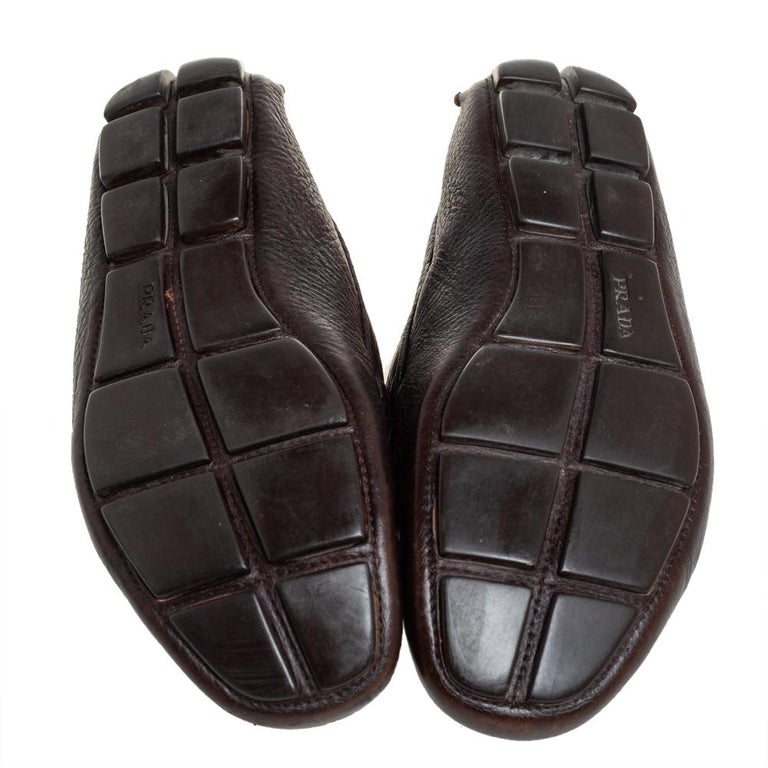 Prada Brown Leather Slip On Loafers Size 41 For Sale 2