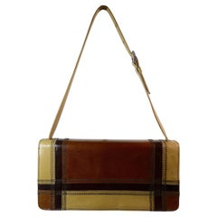 PRADA Brown Leather Stripe Handbag
