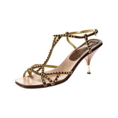 Prada Brown Leather Studded Strappy Sandals Size 38