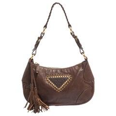 Prada Brown Leather Tassel Shoulder Bag
