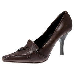 Prada Brown Leather Top Stitch Pointed Toe Pumps Size 36.5