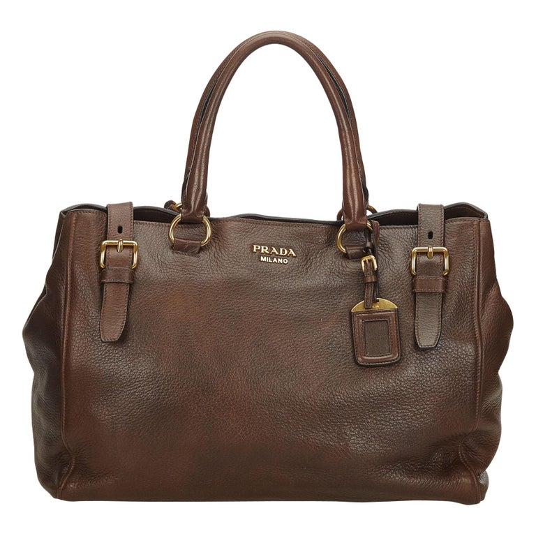 56e730828f08 Prada Brown Leather Tote at 1stdibs