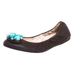 Prada Brown Leather Turquoise Stone Embellished Scrunch Ballet Flats Size 37