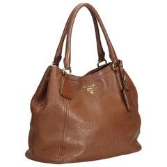 Prada Brown  Leather Vitello Daino Tote Italy