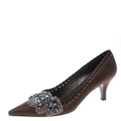 Prada Brown Leather Whipstitch Detail Crystal Embellished Pointed Toe Pumps Size