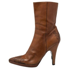 Prada Brown Leather Zipper Detail Boots Size 40.5