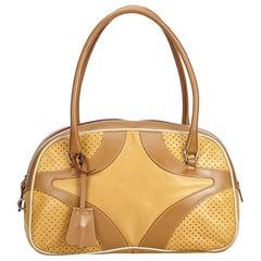 1dd5e3d145 Prada Brown Light Brown Leather Perforated Handbag Italy w  Dust Bag